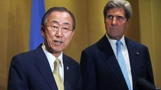 Ban Ki-moon y John Kerry