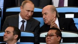 Путин и Блаттер в Бразилии