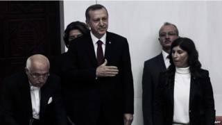 Erdogan durante la jura