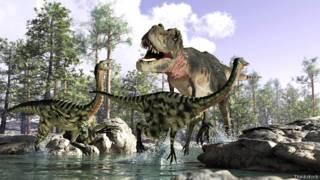 Фантазийное изображение динозавров