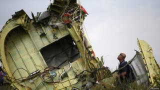 На месте падения малазийского самолета