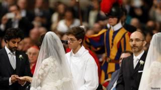 Церемония бракосочетания в Ватикане