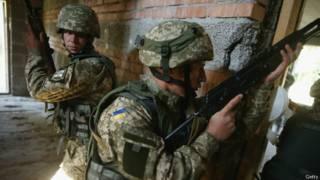 Украинские морские пехотинцы на учениях