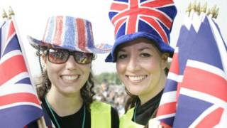 Two women with British flags