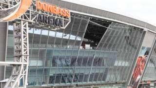 Одна з скляних секцій стадіону повністю зруйнувалася внаслідок обстрілів