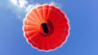 A hot air ballon near Leeds Castle, England