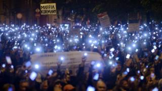 Macaristan'daki internet vergisi protestosu
