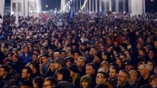 Демонстрация в Будапеште против введения налога
