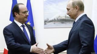 Франсуа Олланд и Фладимир Путин
