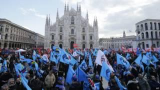 Демонстрация в Милане