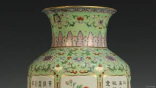 乾隆御用粉彩和豌豆綠落地花瓶