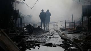 сгоревший киоск в Грозном