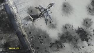 Isanamu ifatiye mu kirere yerekana ingene ikibuga c'indege c'i Donetsk cononekaye