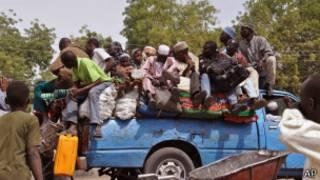 Watu wa Maiduguri wakikimbia mashambulio