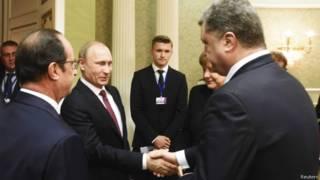 Франсуа Олланд, Владимир Путин, Ангела Меркель, Петр Порошенко перед началом переговоров в Минске 11 февраля 2015 года