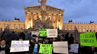 Демонстранты в Вене