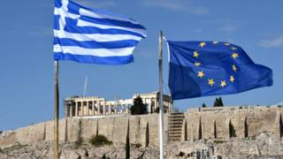 Флаги Греции и ЕС на фоне Акрополя