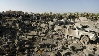 सऊदी के नेतृत्व में यमन में बमबारी