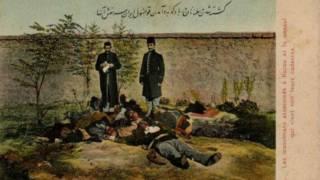 Жертвы азербайджанского погрома в Баку 31 марта 1918 года (иранская почтовая открытка)