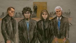 В зале суда, рисунок художника
