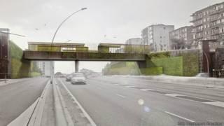 Plano de la remodelación del puente Sarajevo, Barcelona, España