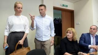 Навальный с супругой в зале суда