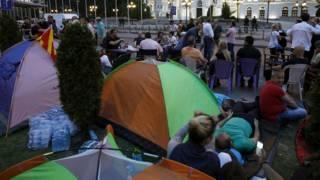 Протестный лагерь в Скопье