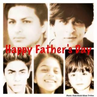 शाहरुख़ ख़ान अपने पिता और बच्चों के साथ