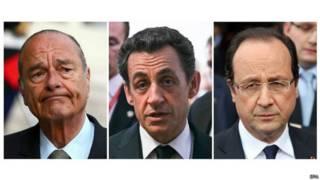 Los presidentes de Francia entre 2006 y 2012: Jacques Chirac, Nicolas Sarkozy y Francois Hollande.