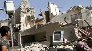 Здание в Багдаде после падения бомбы