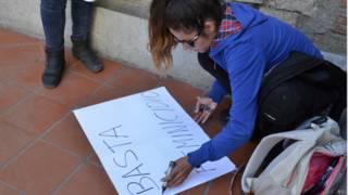 Protestas por el feminicidio de Andrea Aramayo