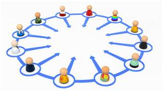 Graphic illustration of people in a ring