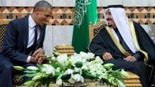 सऊदी शाह सलमान और अमरीकी राष्ट्रपति बराक ओबामा