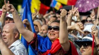 Демонстранты в Кишиневе