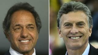 Кандидаты в президенты Аргентины Даниэль Сциоли и Маурисио Макри
