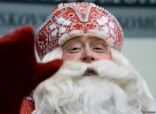 Дед Мороз на пресс-конференции в Москве 23 декабря 2015 г.