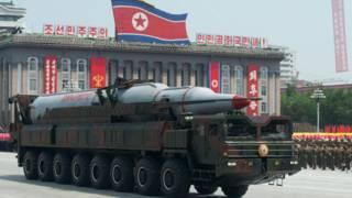 Un cohete norcoreano durante un desfile en 2013.