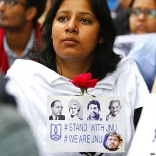 कन्हैया कुमार के समर्थन में छात्र