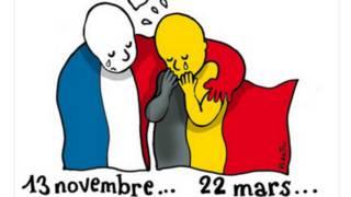 Una caricatura sobre el abrazo de Bruselas y París