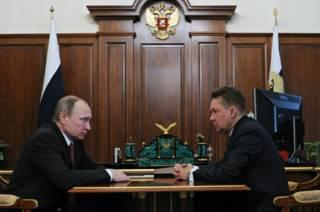 "Президент Владимир Путин и глава ""Газпрома"" Алексей Миллер на встрече в Крмеле 29 февраля 2016 г."