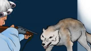 En el cuento de Caperucita Roja de la NRA, la abuela amenaza al lobo con una escopeta.