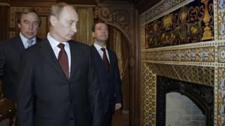 Sergey Roldugin, Vladimir Putin y Dmitry Medvedev