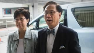 香港前行政长官曾荫权与夫人(资料照片)