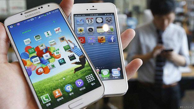 Celular de Samsung y celular de Apple