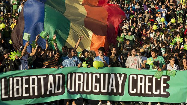 Manifestación por la liberalización de la marihuana en Uruguay