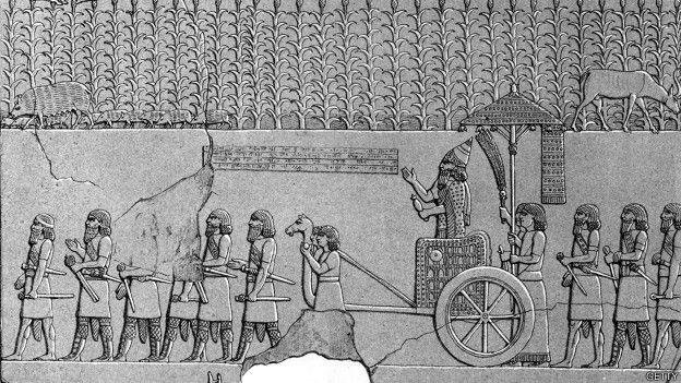 Ilustración de un grabado asirio
