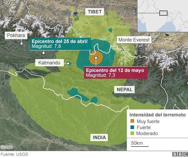 Decenas de muertos por nuevo terremoto magnitud 73 en Nepal  BBC