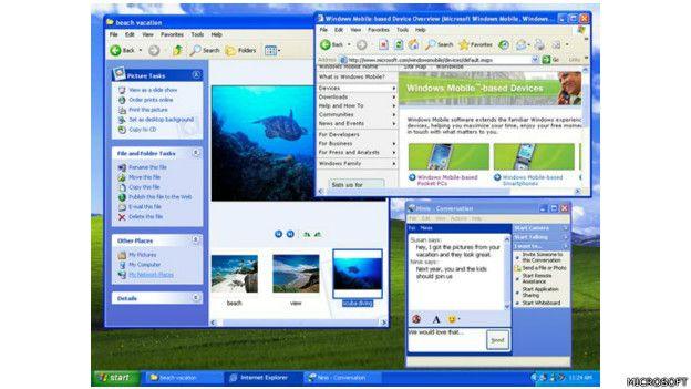 Imagen de la navegación con el Windows XP de Microsoft, lanzado en 2001