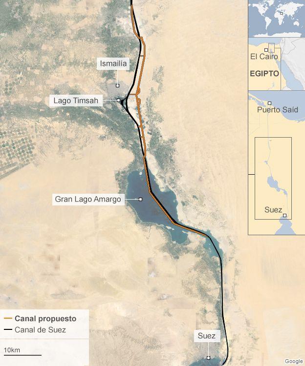 Mapa del nuevo Canal de Suez