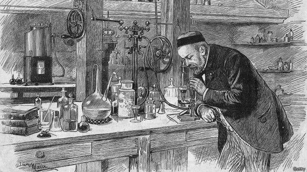 Louis Pasteur en su laboratorio - grabado